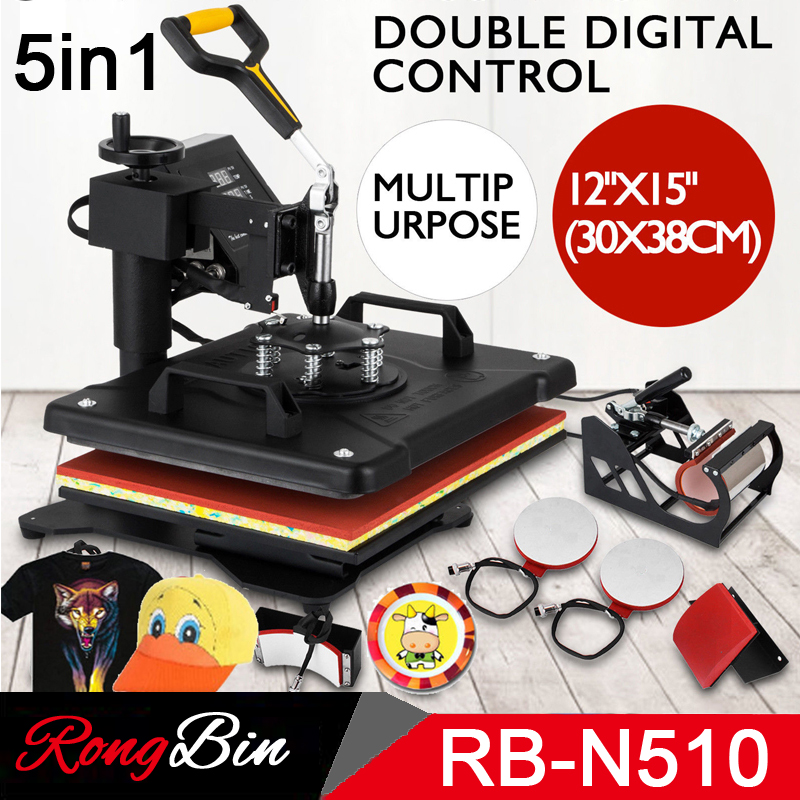 Double Display New Design 5 In 1 Combo Heat Press Machine Sublimation Heat Press Heat Transfer