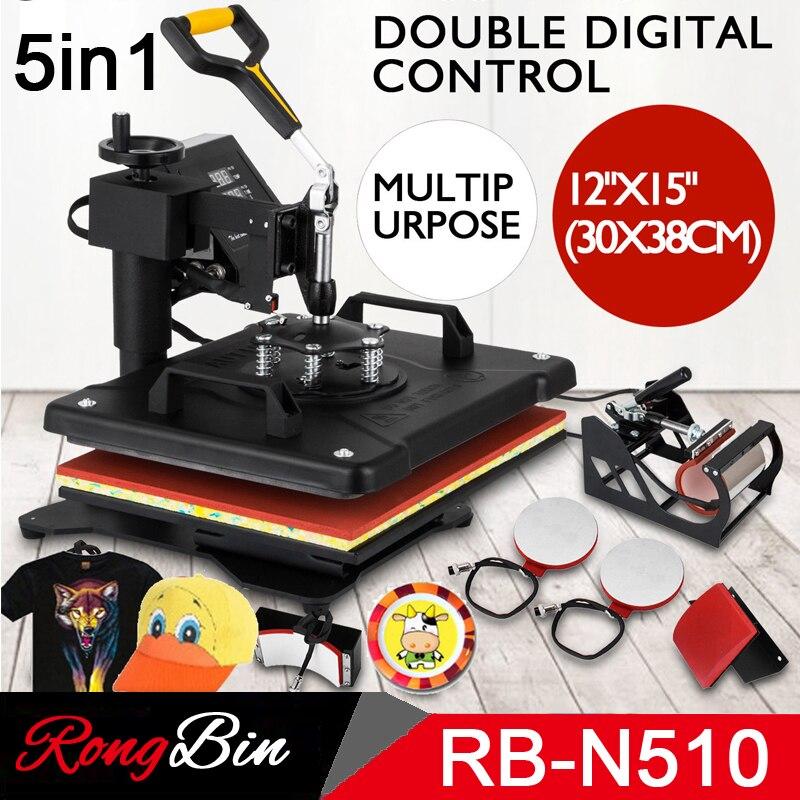 Double Display New Design 5 In 1 Combo Heat Press Machine Sublimation Heat Press Heat Transfer Machine For Mug Cap T Shirt Phone