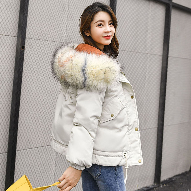 Parka   Mujer Invierno 2019 Women Short Winter Jackets Hooded With Fur Collar Thick Warm Cotton Padded Coat Snow Outerwear