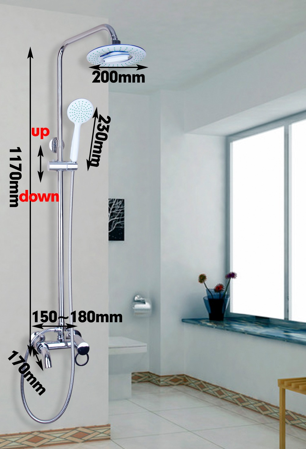 Bathroom Faucets Mixer Tap Wall Mounted Single Handle Shower Sets  Polished Chrome Bathroom  Faucet Tap 8 led new wall mounted ultrathin spray square waterfall handheld shower chrome polished shower sets tap mixer faucet sets head