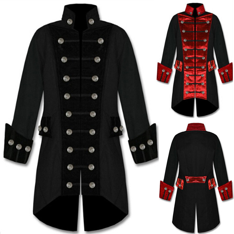 Men Coat Male Cosplay Medieval Clothing Coat Costumes Fashion Standing Collar