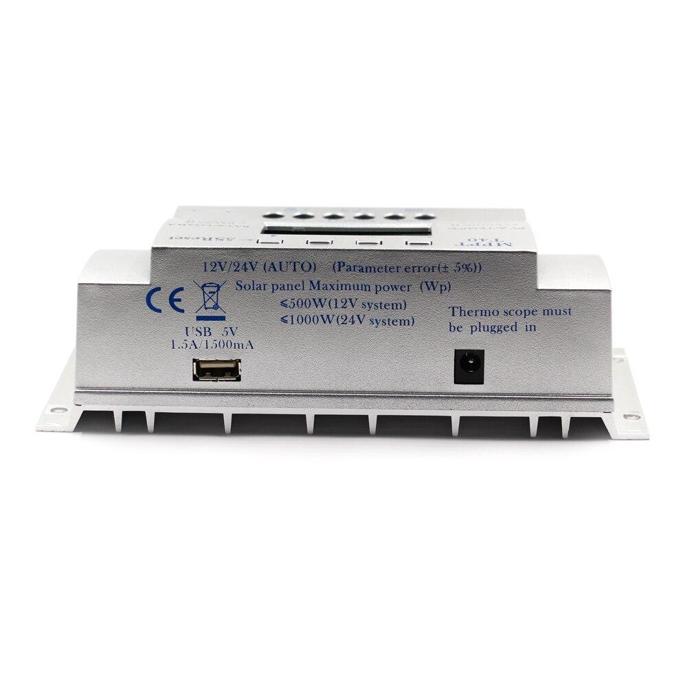 MPPT T40 40A régulateur de Charge solaire 12 V 24 V contrôleur d'affichage LCD automatique avec Charge double contrôle de minuterie pour système de réverbère - 6