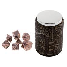 7 مجموعة النرد متعدد السطوح المعدنية للزنزانات والتنين DND MTG + كأس النرد # 9