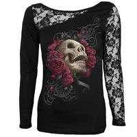 Women T Shirt Sexy Skull Print Long Sleeves Lace Patchwork Sexy Tee Tops Pullovers Women Clothing