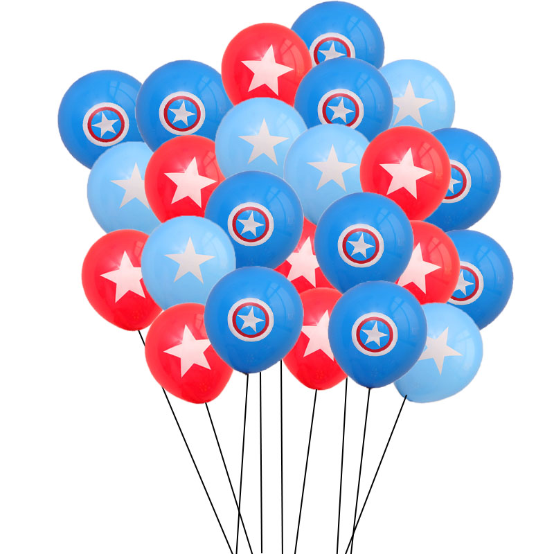 10pcs Marvel Avengers Foil Balloons Captain America Shield Latex Balloon <font><b>Birthday</b></font> Wedding Party <font><b>Decorations</b></font> Classic hero theme image