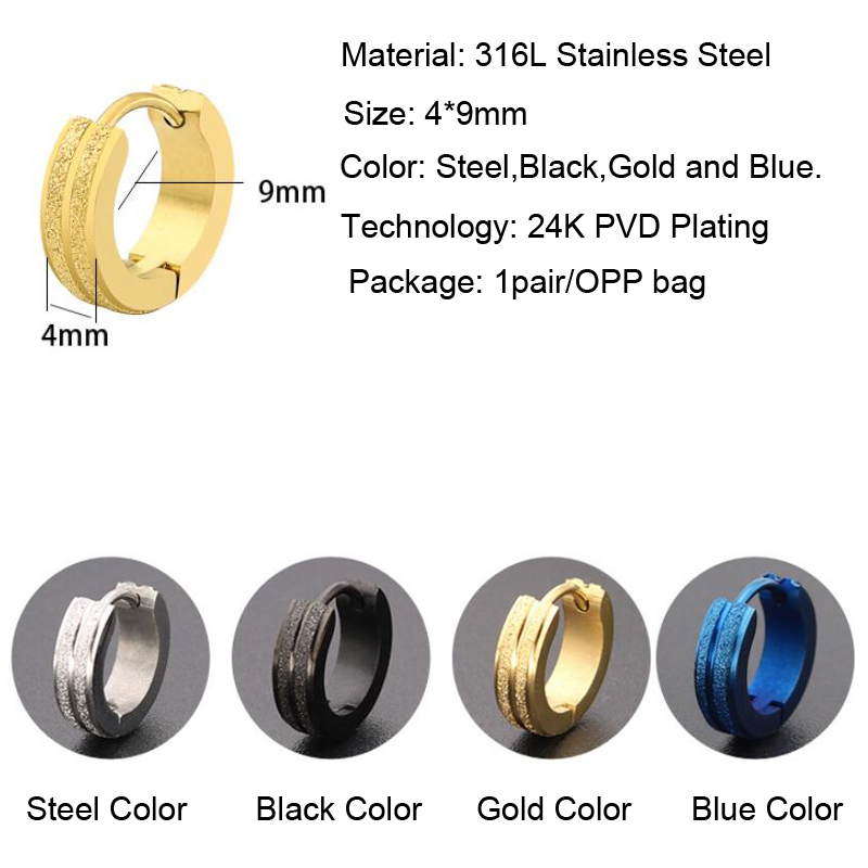 Fashion Design Clip On Ear Studs Stainless Steel Huggies Earring 24K Gold Ear Piercing Jewelry For Men