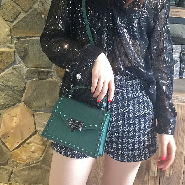 2019 Ladies Shoulder Bag Metal Rivet Clutches Square PVC Transparent Jelly Luxury Crossbody Bag Handbag Women Famous Brands