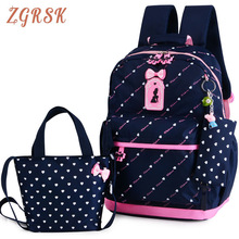 цены Children Nylon School Backpacks Bags Teenagers Girls Printing School Backpack 3pcs/Set Kids Backpack Cute Back Pack Bookbags
