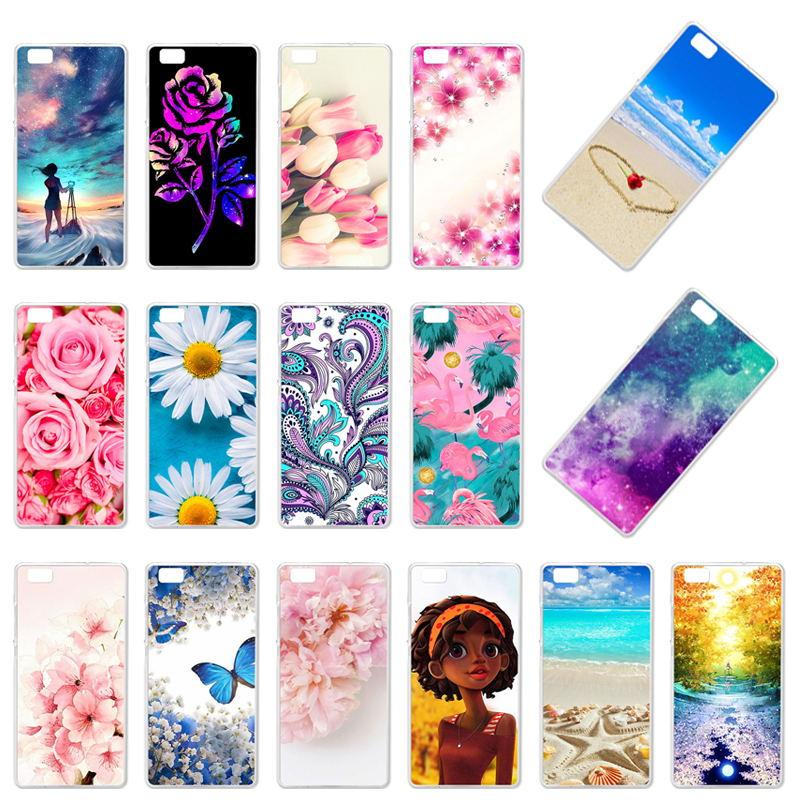 Phone Cover Case For Huawei P8 Lite P8 Mini P8lite ALE-L21 ALE-L04 ale l21 5.0 inch Cover Flower Rose Soft TPU Case