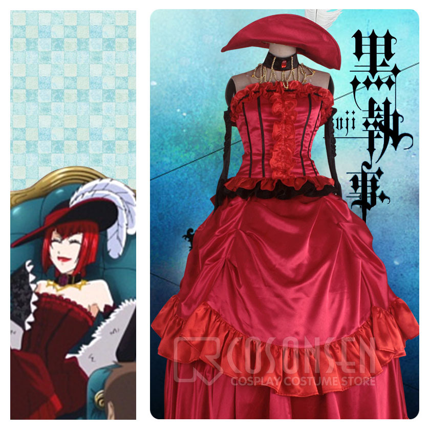 COSPLAYONSEN Kuroshitsuji Black Butler Madam Red Cosplay Costume Dress All Size