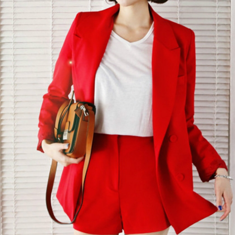 2019 summer new fashion long sleeve red blazer Casual temperament suit and shorts two-piece women Suits office sets