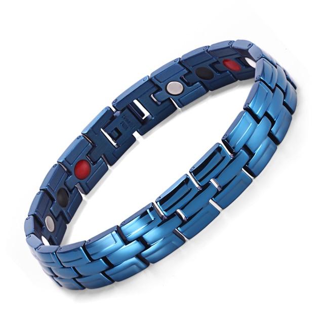 Healing Magnetic Bracelet Men/Woman 316L Stainless Steel 3 Health Care Elements(Magnetic,FIR,Germanium) Gold Bracelet Hand Chain 4
