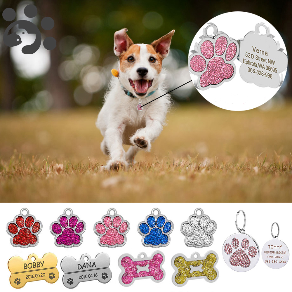 Pet ID Tag Personalized Dog Tags Engraved Cat Puppy Pet ID Name Collar Tag Pet Accessories Bone/Paw Glitter MP0078