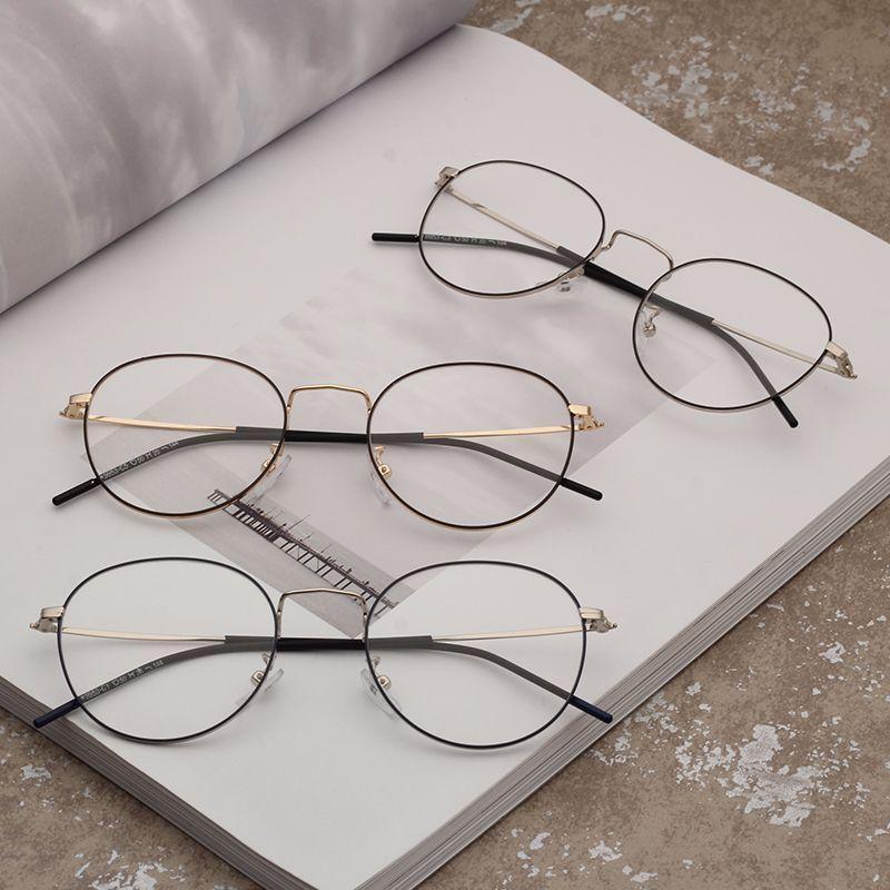 77d1563880 Vintage Casual Round Glasses Frame Women Men Circle Metal Eyeglasses ...