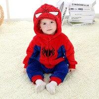 0 24 Months 3D Cartoon Spiderman Baby Romper 2015 Hot Spring Autumn Flannel Jumpsuit Baby Clothes