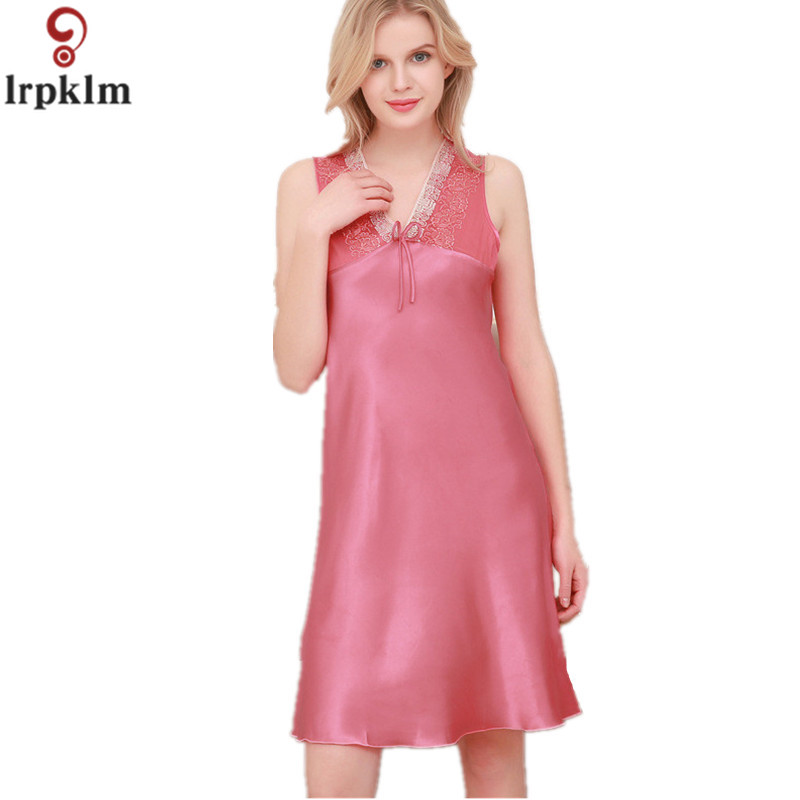 New Summer Female Faux Silk Sleepwear Lace Dressing Gowns Sweet High ...