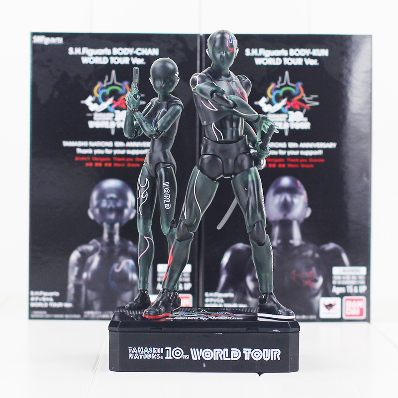 13cm SHFiguarts BODY KUN BODY CHAN World Tour Tamashii PVC Action Figure Collectible Model Toy shfiguarts pvc body kun body chan body chan body kun grey color ver black action figure collectible model toy