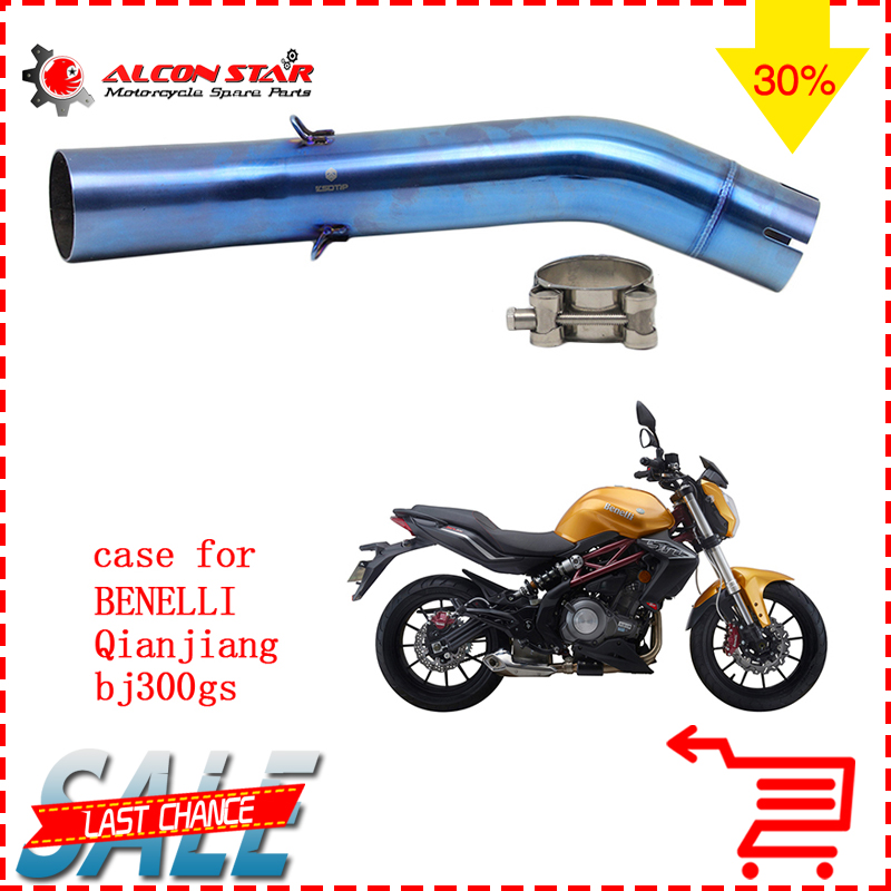Alconstar-BJ300GS Stainless Steel 51mm Motorcycle Exhaust Muffler Mid Pipe for Benelli BJ300GS without ExhaustAlconstar-BJ300GS Stainless Steel 51mm Motorcycle Exhaust Muffler Mid Pipe for Benelli BJ300GS without Exhaust