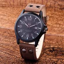 2016 Mens Watches Top Brand Sport Style Luxury PU Leather Men Sports Round Dial Wristwatch Quartz Watch Relogio Masculino