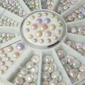500 Pcs/set  3 sizes White Multicolor Acrylic Glitter Rivets Nail Art  Rhinestone Decoration 1ESG