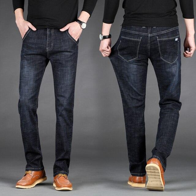 2019 Luz Fina Calça Jeans Jeans de Marca dos homens Novos Homens Da Moda Casual Homens Magros Retas de Alta Stretch Jean Tamanho Grande 28-40 42 44