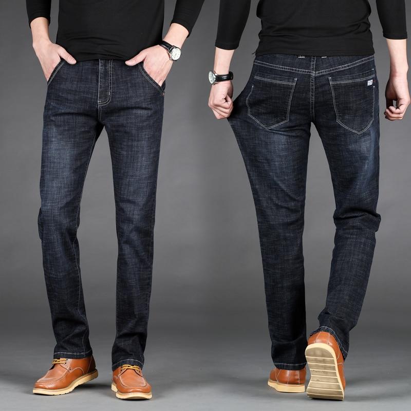 2019 New Men's Thin Light Jeans   Brand Jeans Fashion Men Casual Slim Straight High Stretch Jean Men Big Size 28-40 42 44