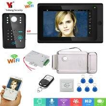 Yobang Security 7″ TFT Wired / Wireless Wifi RFID Password Video Door Phone Doorbell Intercom System with Electronic Door Lock