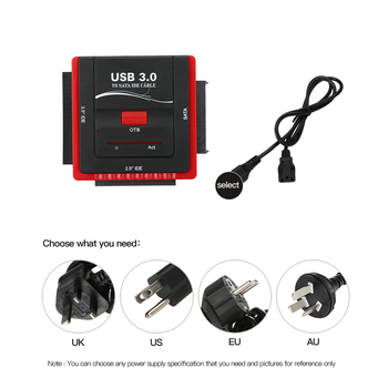 USB 3.0 To SATA/IDE Adapter Hard Disk Drive Converter for Universal 2.5/3.5 HDD/SSD Hard Drive Disk With Power Supply Black