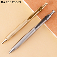 Metal Ball point Pen Retro Brass Pens Signing With A Clip Cylinder Press Pure Copper EDC