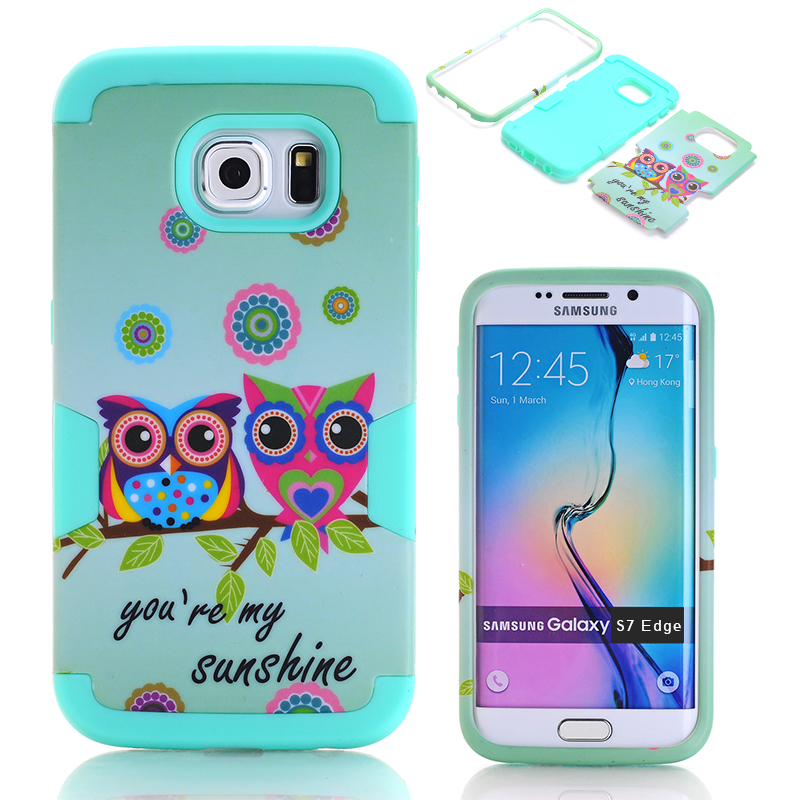 Cute Owl Case Cover for Samsung Galaxy S7 Edge Hybrid Hard&Silicone Phone Cases w/Screen Protector Film+Stylus Pen