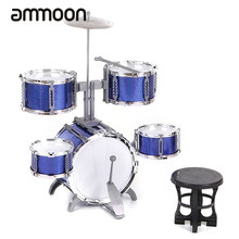 Compact Size Drum Set Children Kids Musical Instrument Toy 5 Drums with Small Cymbal Stool Drum Sticks for Boys Girls(China)