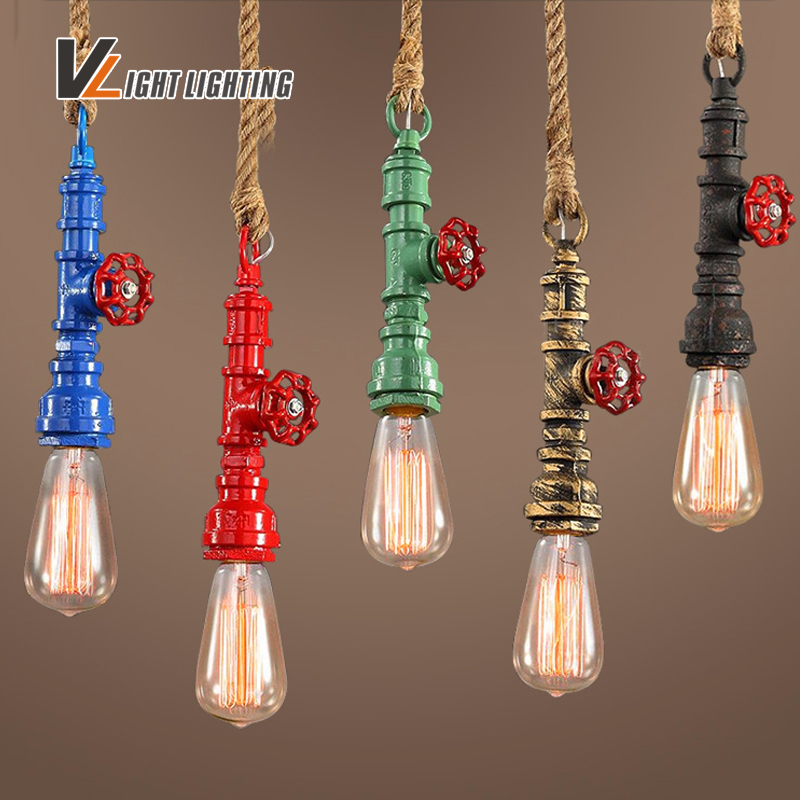 Loft Vintage Waterpipe Rope pendant Light For Living Room Retro Edison bulb Creative Personality American Style Industrial Lamp american edison loft style rope retro pendant light fixtures for dining room iron hanging lamp vintage industrial lighting