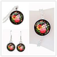 Sweet flower jewelry sets parure bijoux femme glass dome pendant necklace for women jewelery set silver earring wedding bracelet