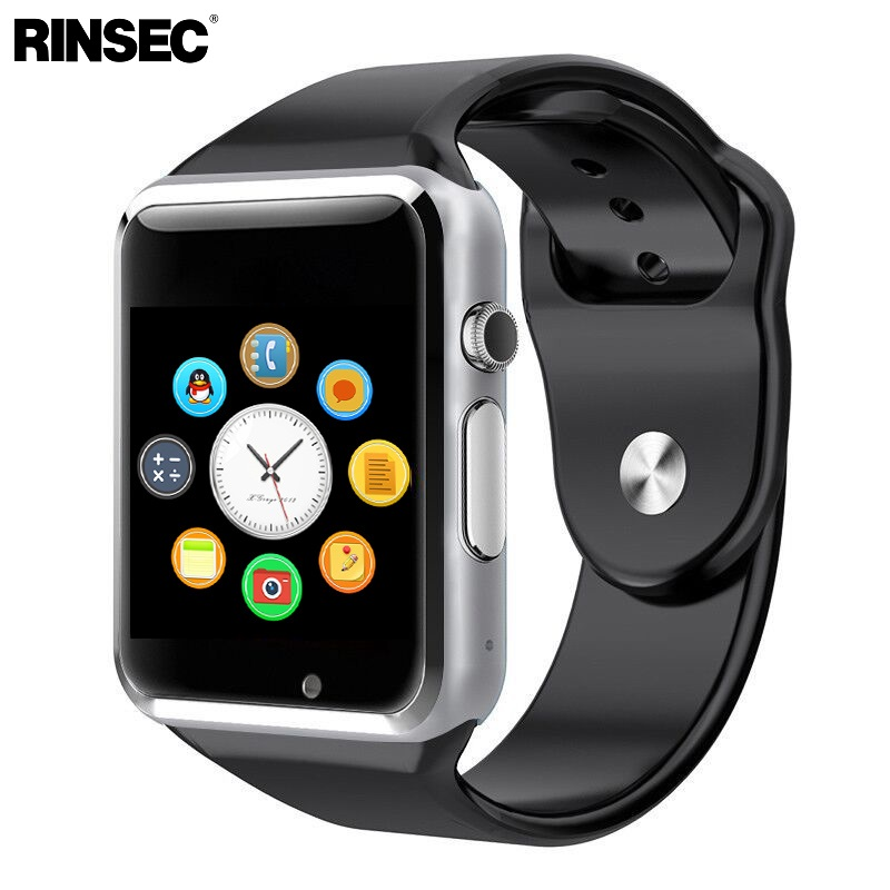Rinsec A1 Astuto Della Vigilanza di Orologio di Sincronizzazione di Notifier Supporto SIM Carta di TF Connettività Apple iphone Android Phone Smartwatch