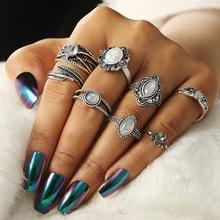 New Ethnic Style Bohemian Rings Set for Women Vintage Zinc Alloy Micro-inlaid Zircon Flower Ring Female Silver Bijoux цена