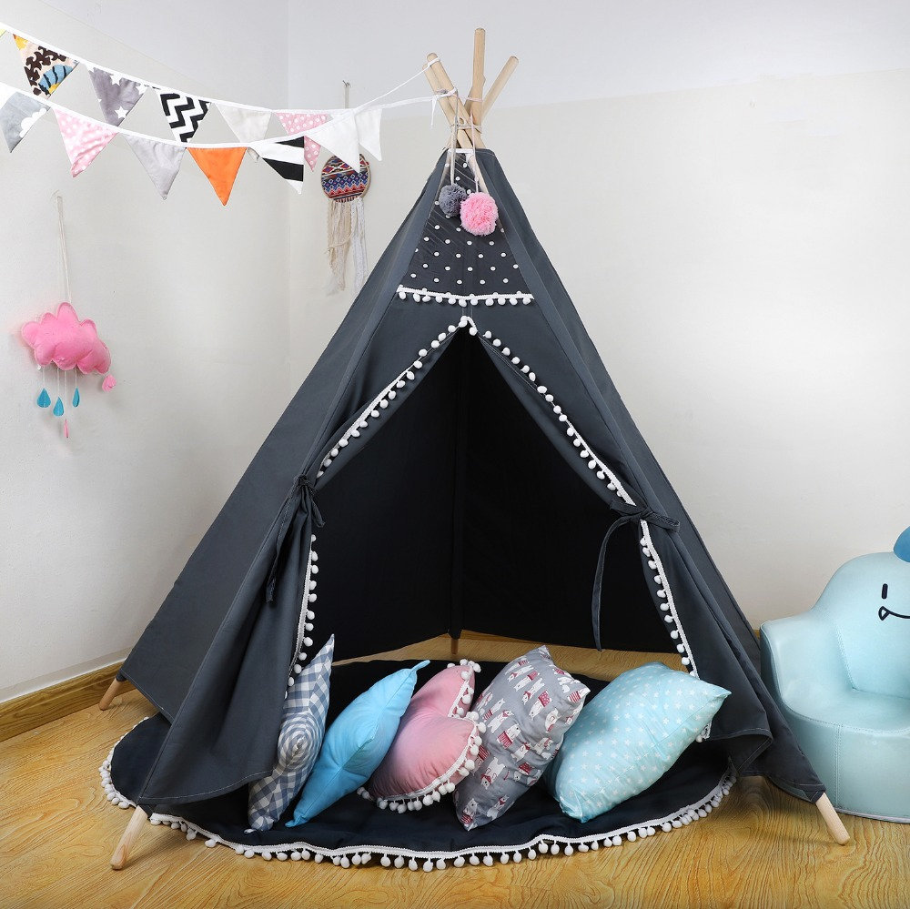 Large 5-Pole Grey Teepee Kids Teepee Play Indian Tent Playhouse Boys Teepee Child Play Tent Tipi Kids free shipping kid tent indian teepee tents