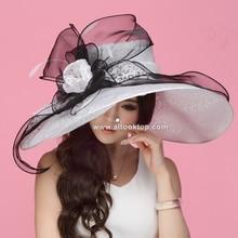 Blanco vestidos de señoras de la iglesia kentucky derby sombreros para la fiesta del té chapeau sombreros para las mujeres negras de verano sombreros de sun de Novia de organza femme