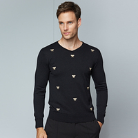 Men's Sweaters Animal Embroidery Casual Fashion V Neck Sweater Men 2018 New Brand Male Slim Black Warm Male Pullovers Size M 3XL