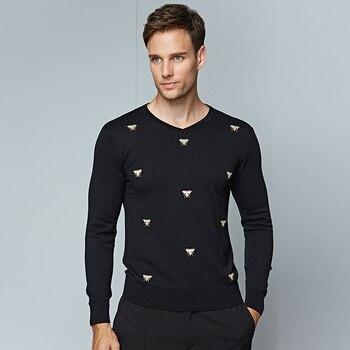 Męska Swetry Hafty Zwierząt Dorywczo Mody V Szyi Sweter Mężczyzn 2018 nowa Marka Mężczyzna Szczupła Czarne Ciepłe Męskie Swetry Rozmiar M 3XL