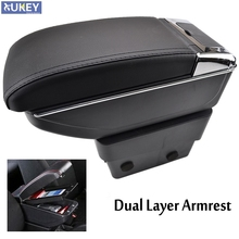 Storage Box Center Centre Console Leather Tray Dual Layer 2014-2017 Armrest Arm Rest For Skoda Octavia A7 5E 2015 2016