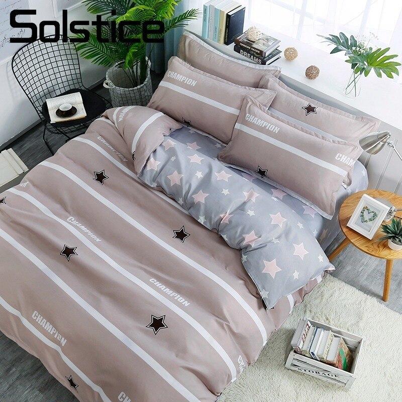 Solstice Home Textile Boy Child Teenage Girl Bed Linen Suit Star Beige Stripe Duvet Cover Sheet Pillowcase Twin Full Bedding Set