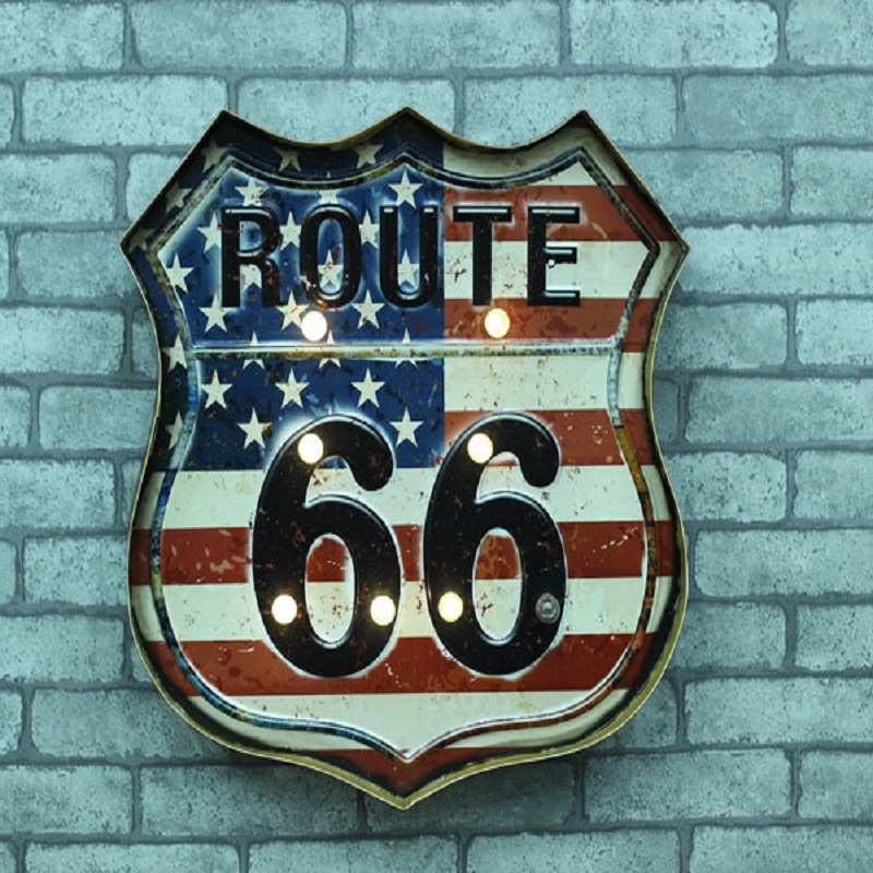 The new US Route 66 Cafe Restaurant Bar Iron Mural walls Hangings with LED vintage home decor manualidades craft iron crafts