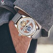 クール透明トゥールビヨンは、男性の自己巻機械式時計鋼 Milanese 腕時計防水 Montre ムーンフェイズ