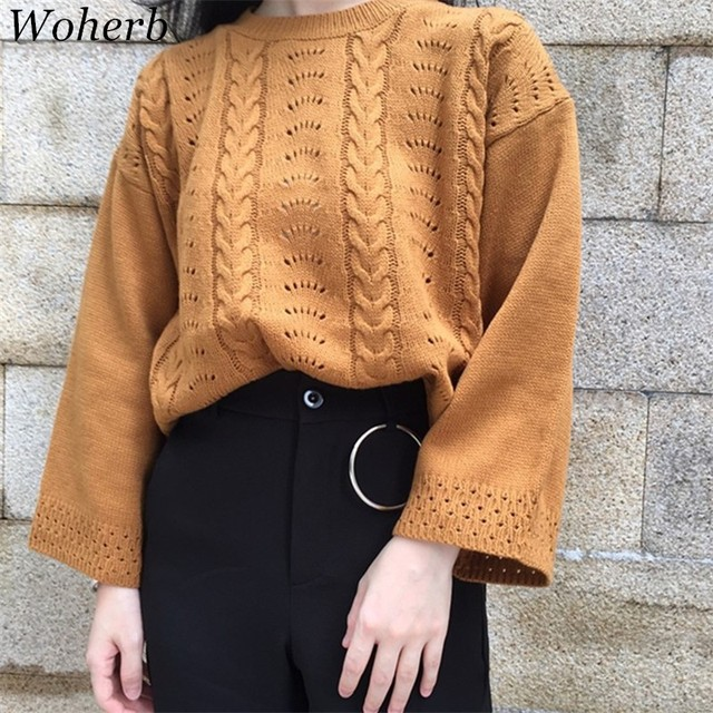 cb6996dd40 Woherb Autumn Winter Women Sweaters 2018 Korean Fashion Casual Loose Pullovers  Long Sleeve Ladies Knitted Sweater 41645