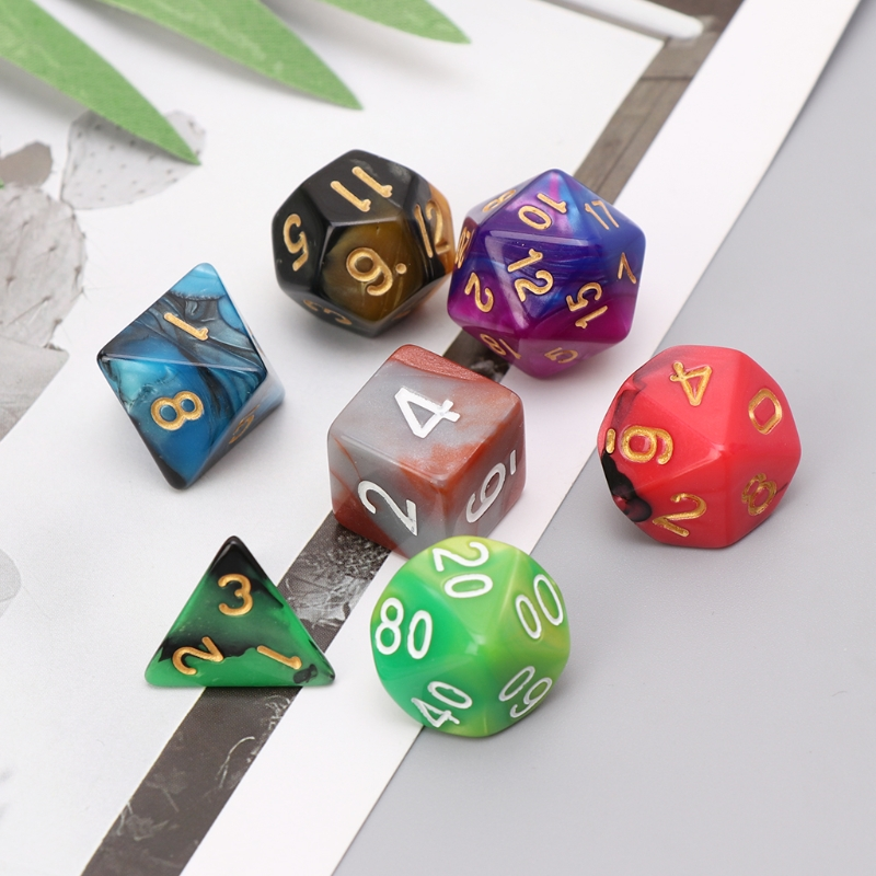 7pcs/Set Dice D4-D20 Multi-sided Dice Colorful  Acrylic Dice Digital Dice For TRPG Board Game Dungeons And Dragons Dropshipping