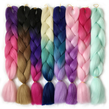 """free shipping Braiding Hair 1 piece 24"""" Jumbo Braids 100g/pcs VERVES Synthetic ombre High Temperature Fiber Hair Extensions"""