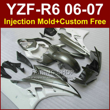 F5GT Pure gray white fairing kits for YAMAHA YZFR6 2006 2007 fairings set YZF1000 YZF R6 06 07 Injection bodyworks 7GT