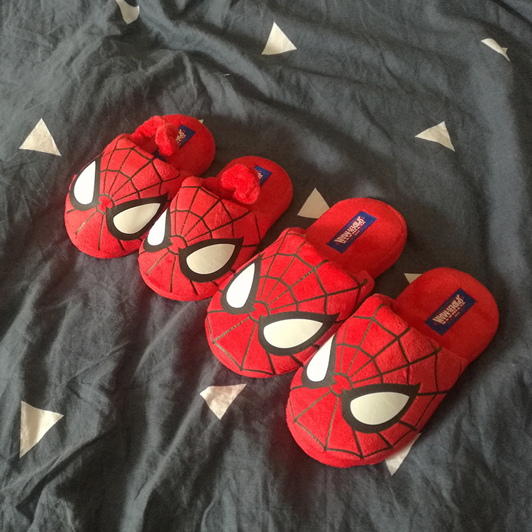 Toddler Boy Cotton Slippers Spider Eyes Printed Home Indoor Shoes for Kid Boy Anti Slip Baby Pantoffels Winter Spring Slippers in Slippers from Mother Kids