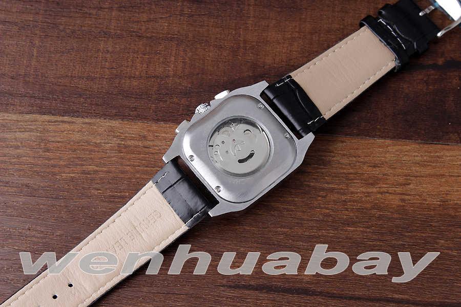 Erkek moda otomatik mekanik kendinden sarımlı takvim ekran roma numaraları Dial Analog siyah deri kayış kol saati hediyeler