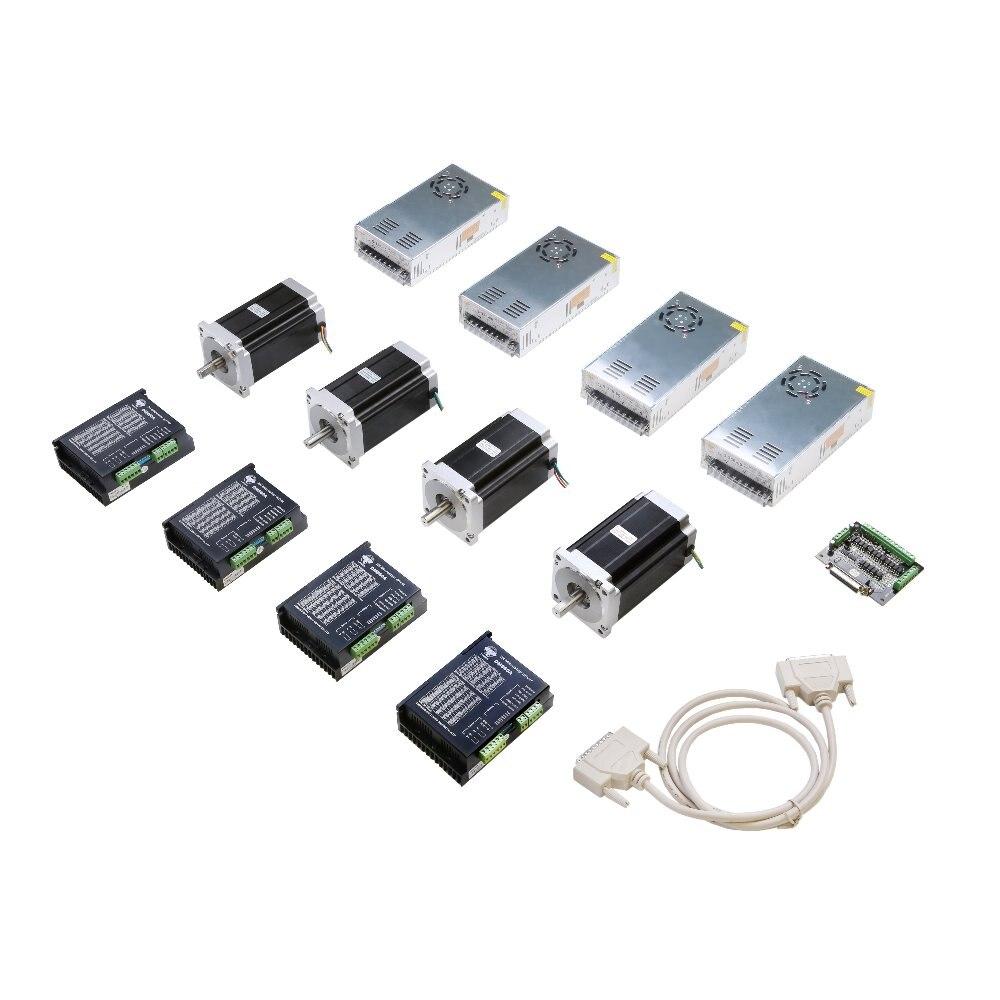 La UE nos envío gratis 4 eje Nema 34 paso a paso Motor 1600 oz 34HS5435C-37B2 controlador de motor paso a paso DM860A controlador DB25 CNC Router